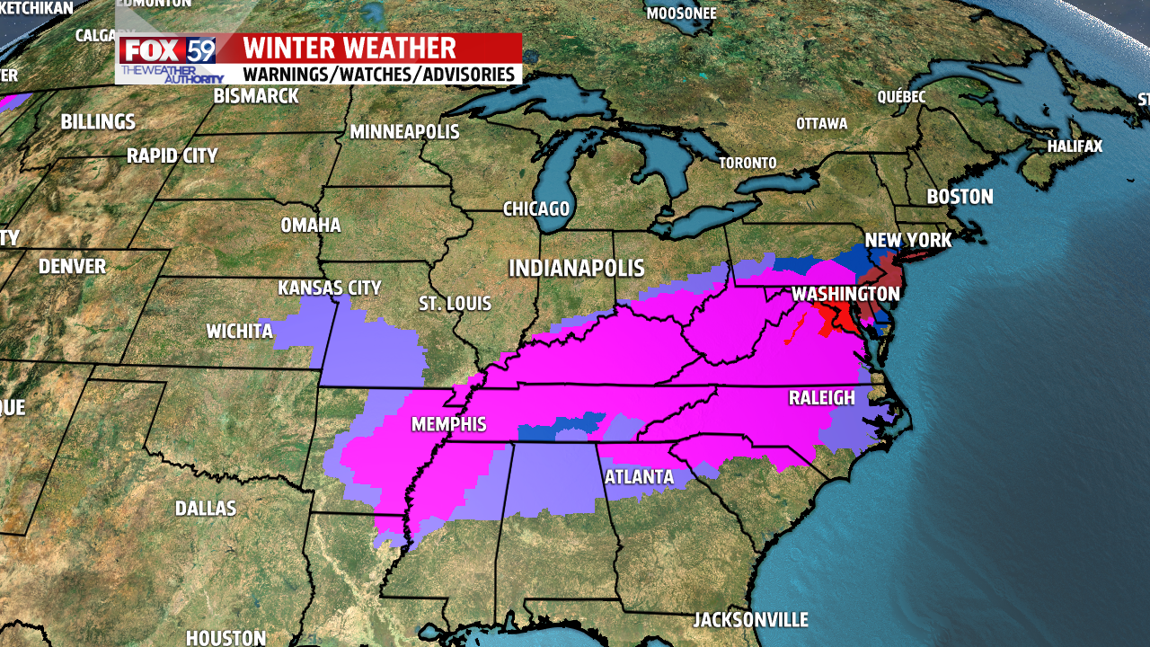 Nearly two dozen states under a winter watch, warning or advisory.