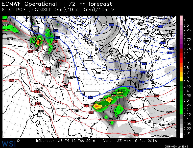 Euro model (avove) along with the US and Canadian model tonight agree on south track Monday