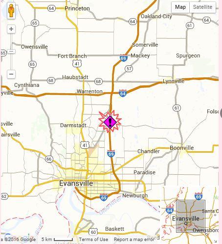 Evansville crash along I-69 at mile marker 17 just north of Evansville