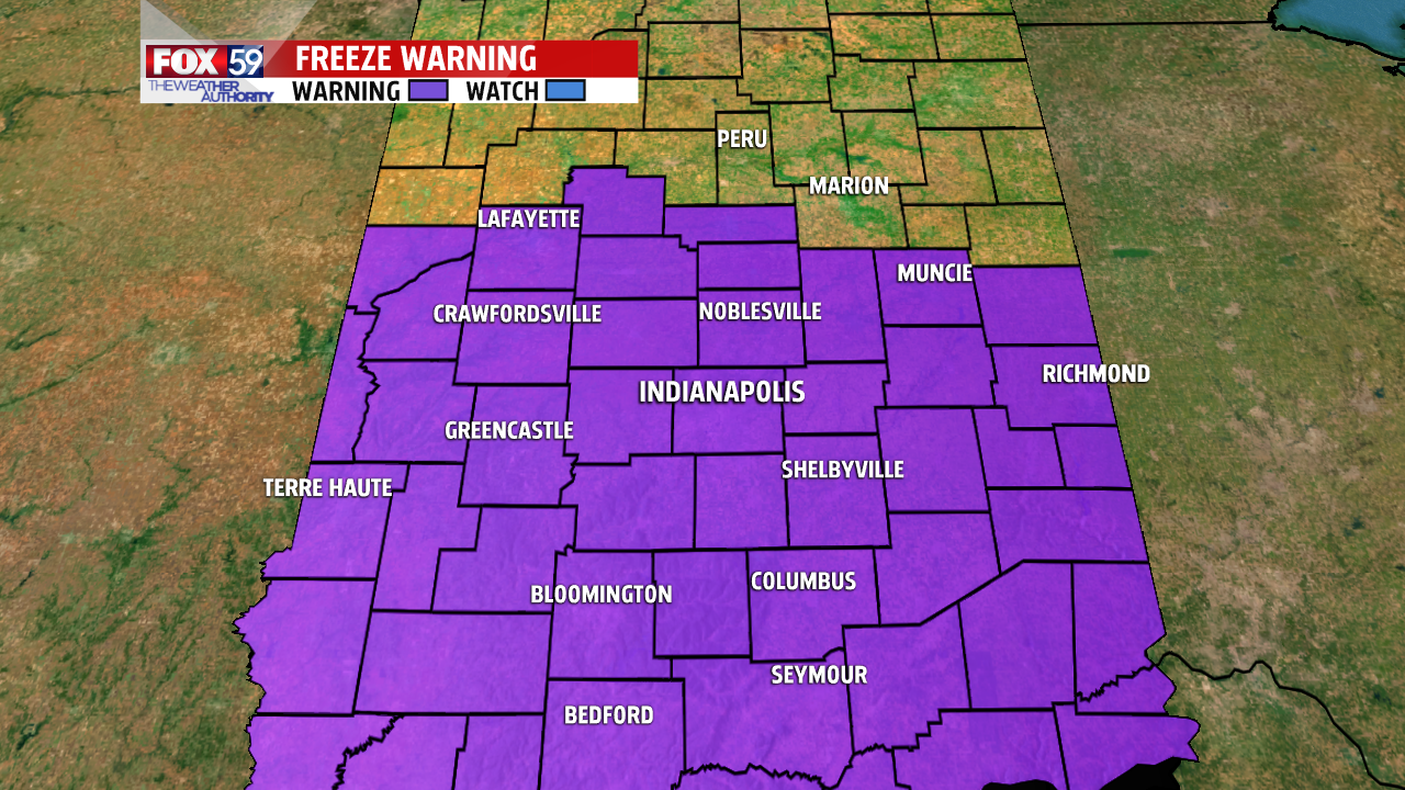 Freeze warning from am until 11 am Saturday