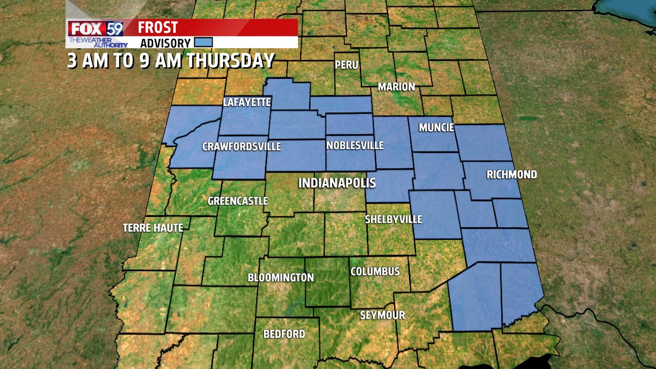 Frost advisory til 9 AM Thursday