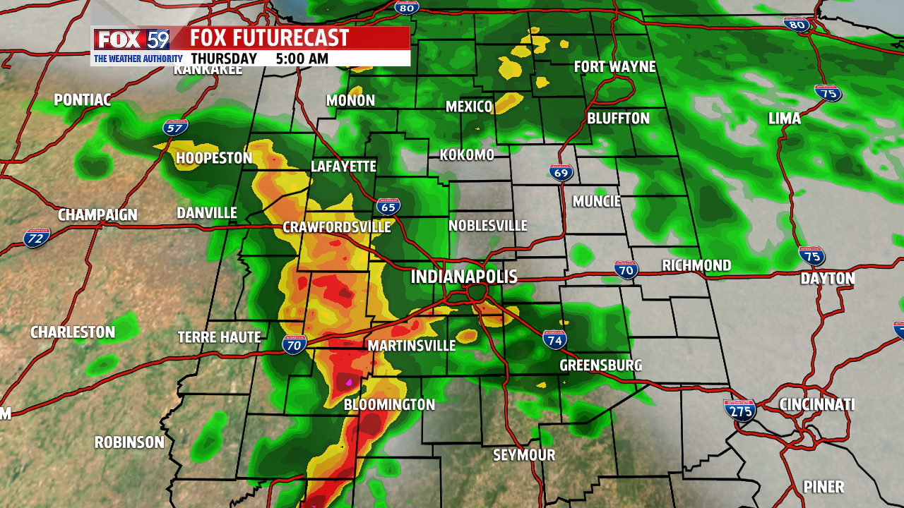 Forecast radar 5 AM Thursday. Strong storms are possible