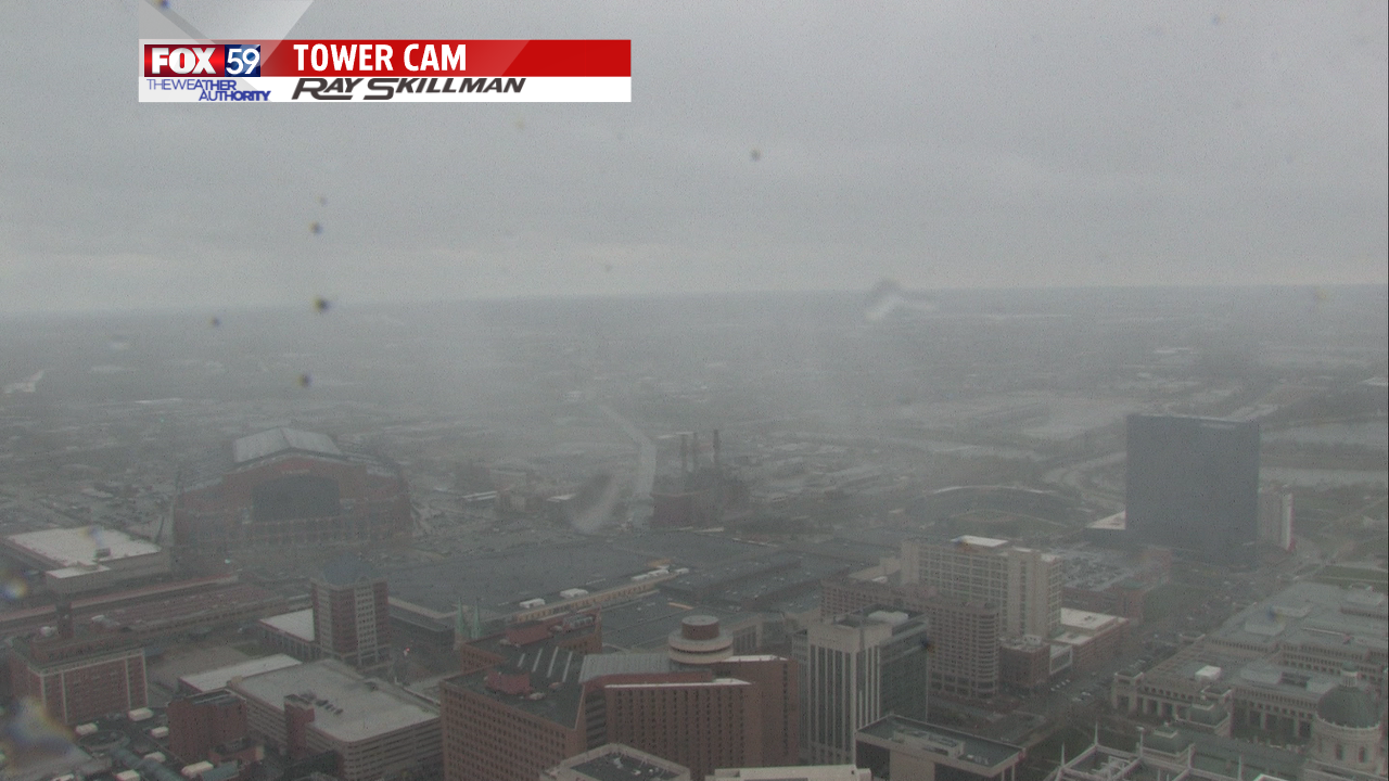 A sleet shower over downtown Indianapolis Thursday afternoon