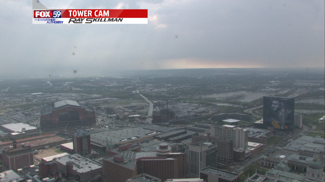 a look at the isolated nature of Friday t-storms from tower cam at 4:30 PM