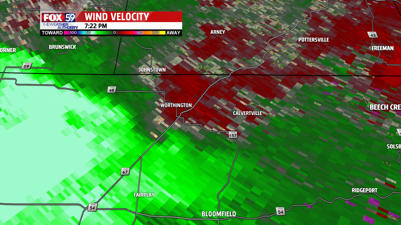Radar wind velocity at the time of the tornado report Tuesday evening