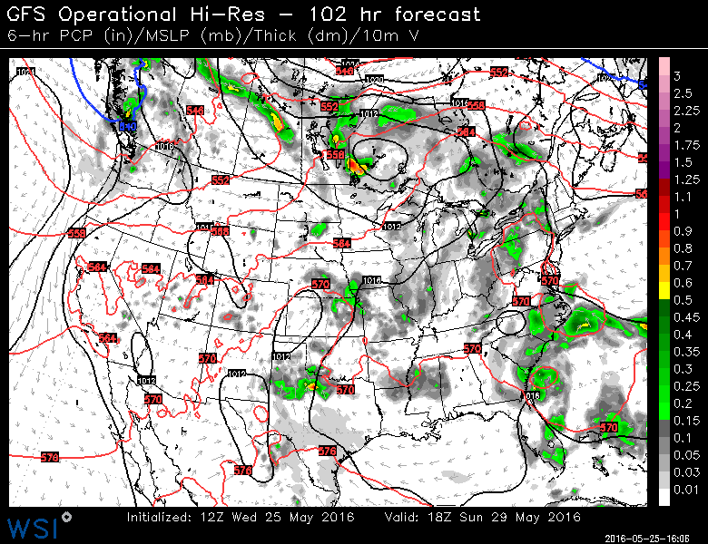 US GFS model race day weather map
