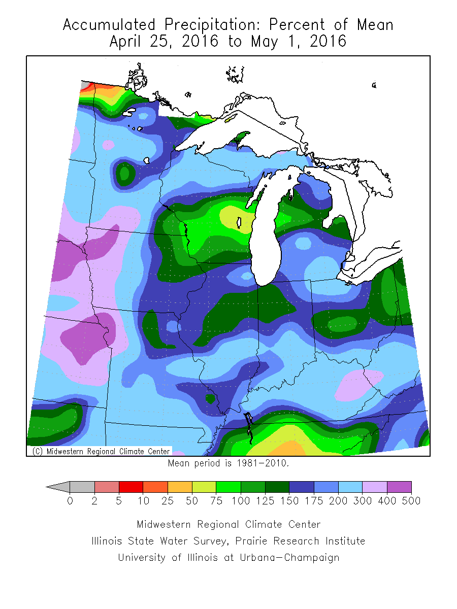 Precipitation form normal past 7 day