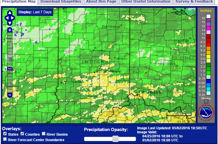 Rainfall over the past week for Indianapolis at 3.37""