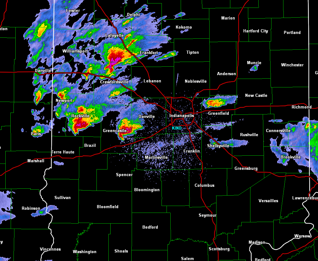 Radar image Sunday night aprrox time of tornado touching down