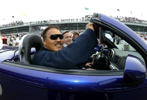 INDIANAPOLIS - MAY 25: Boxing legend Muhammad Ali sits aboard a pace car before the start of the IRL (Indy Racing League)IndyCar Series Indianapolis 500 on May 25, 2003 at the Indianapolis Motor Speedway in Indianapolis, Indiana. (Photo by Darrell Ingham /Getty Images).