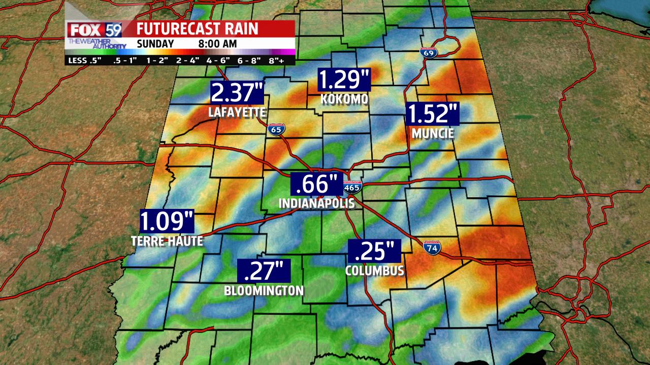 RPM model total rainfall through 7 AM Sudnay