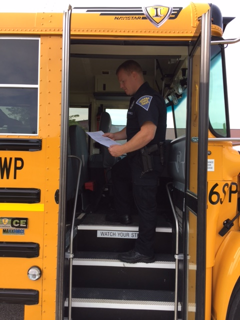 Putnamville school bus inspection. (picture courtesy of Indiana State Police)