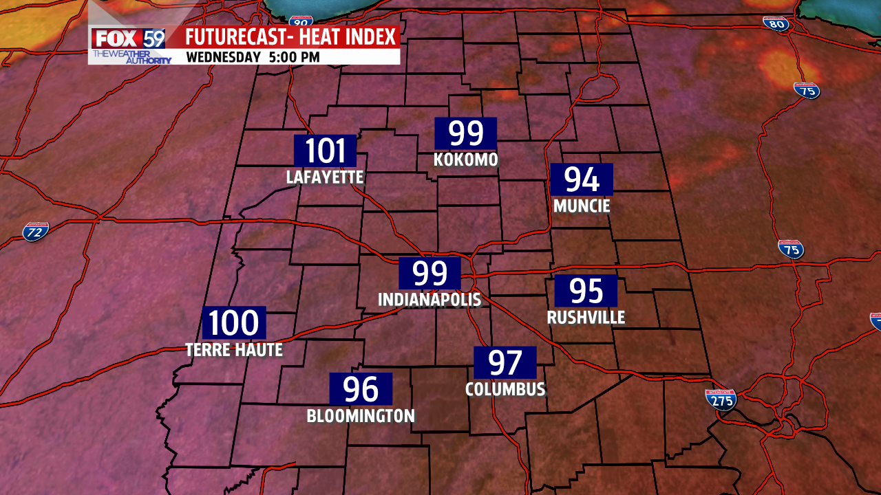 RPM model forecast heat index Wednesday afternoon