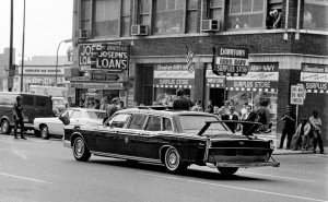 Nixon driving by the store during his visit to Indianapolis in April of 1971