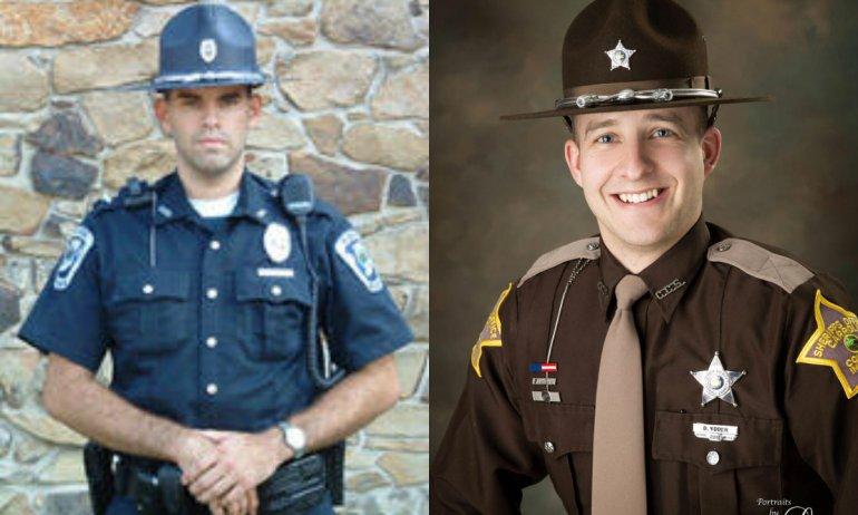 Pictures of Officer Joshua Disinger (left), Deputy Drew Yoder (right)