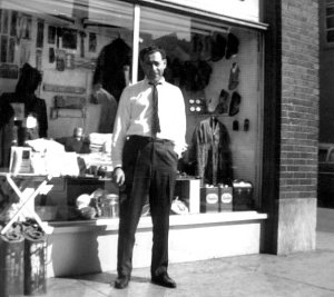 ernie-herman-in-front-of-downtown-surplus-store-34-w-ohio-st