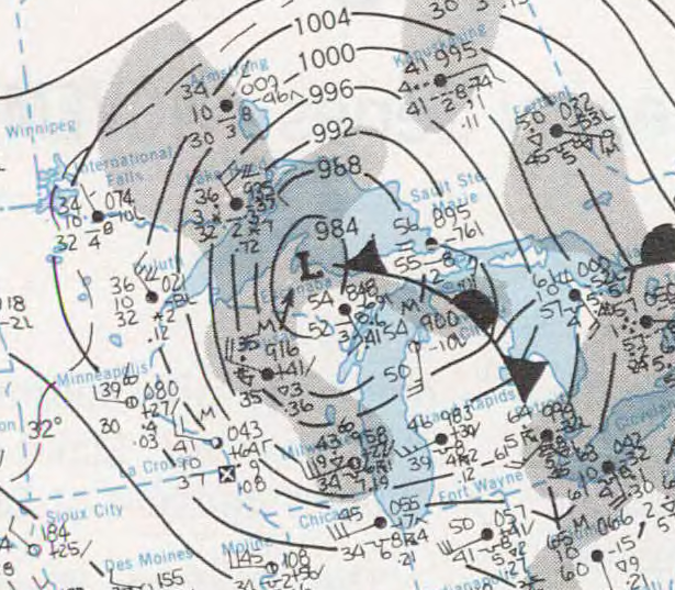 Weather map November 10th 1975.  Powerful storm sank the Edmund Fitzgerald on this date