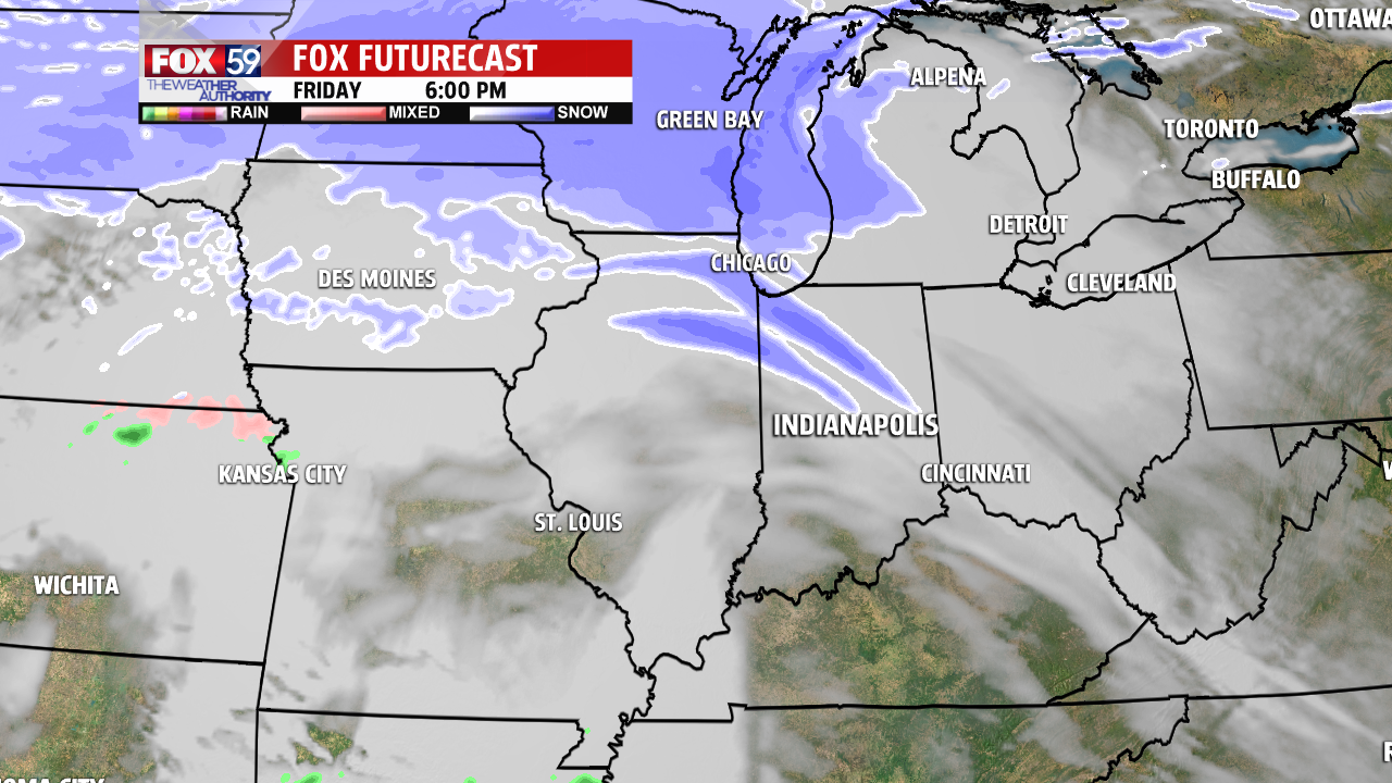 A second warm front could produce snow and a wintry mix Friday evening