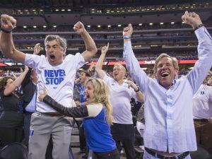 Duke fans celebrate their team's win over Wisconsin, NCAA Men's Basketball Championships, Lucas Oil Stadium, Wisconsin vs. Duke, Indianapolis, Monday, April 6, 2015. Duke won 68-63.   Robert Scheer / The Star