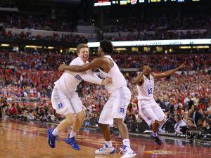 Duke celebrates their 2015 Men's NCAA National Championship at Lucas Oil Stadium Monday, April 6, 2015.  Matt Kryger/The Star