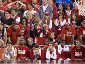 Wisconsin players sit dejected on the bench near the end of the game, NCAA Men's Basketball Championships, Lucas Oil Stadium, Wisconsin vs. Duke, Indianapolis, Monday, April 6, 2015. Duke won 68-63.   Robert Scheer / The Star