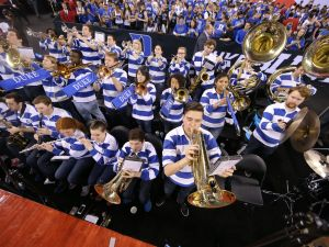 The Duke Blue Devils band gets the fans fired up in the second half of the 2015 Men's NCAA Championship at Lucas Oil Stadium Monday, April 2015.  Matt Kryger/The Star