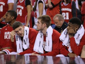 The Wisconsin Badgers bench reacts late in the second half of the 2015 NCAA National Championship game Monday, April 6, 2015, at Lucas Oil Stadium.  Matt Detrich/The Star
