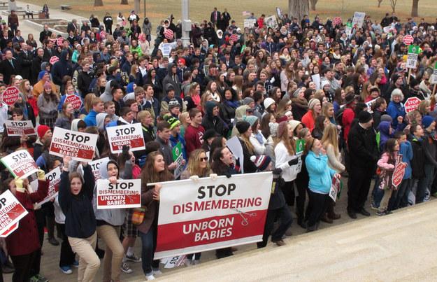 Hundreds of abortion opponents rally at the Kansas Statehouse in January.  (John Hanna/AP)
