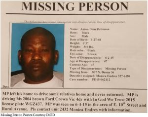 IMPD poster on Robinson's missing persons case