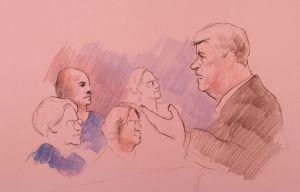 Sketch of deputy prosecutor Denise Robinson talking to jurors