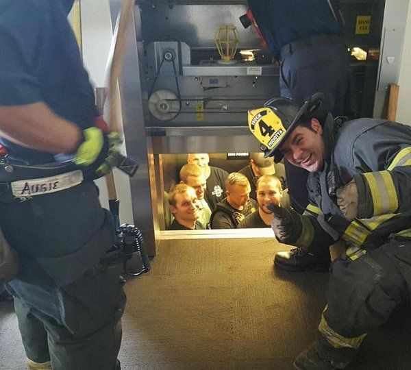The KC fire department arrived and freed their brothers in blue inside the police academy. Not one of the 12 officers inside were hurt, and were said to be in good spirits. The rescue made for some pretty light-hearted teasing though.