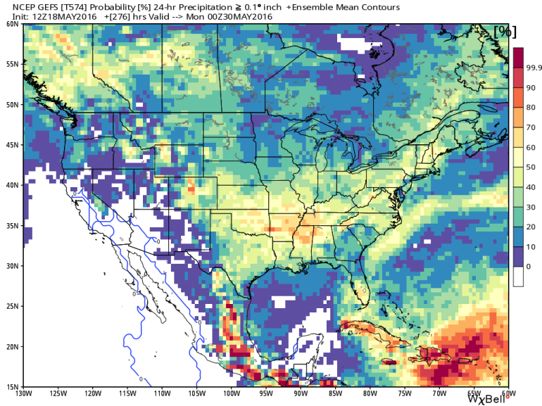 """Probability of rain over 0.10"""" during 24-hour period ending 8pm Sunday, May 29."""