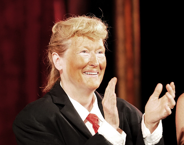 Meryl Streep, dressed as Donald Trump, performs onstage at the 2016 Public Theater Gala at Delacorte Theater on June 6, 2016 in New York City. (Photo by Paul Zimmerman/WireImage)