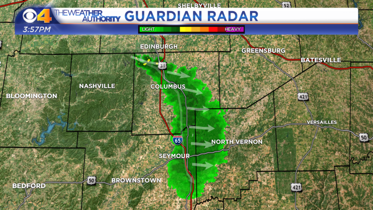 Guardian Radar detects military chaff over Bartholomew, Jackson and Jennings counties Wednesday afternoon.