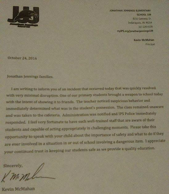 Copy of letter sent to students