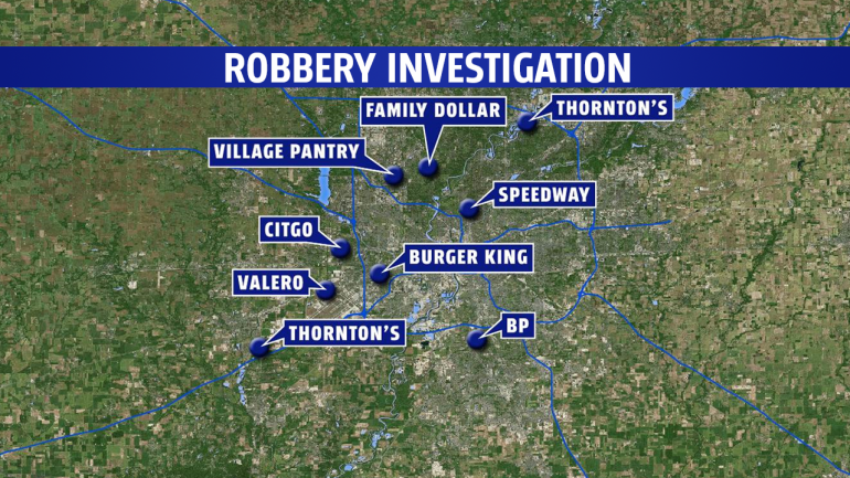 Police believe the suspects committed a string of robberies around the Indianapolis area