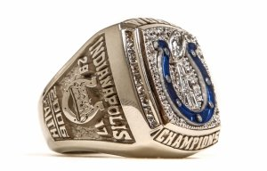 Photo of the Indianapolis Colts Super Bowl XLI ring.