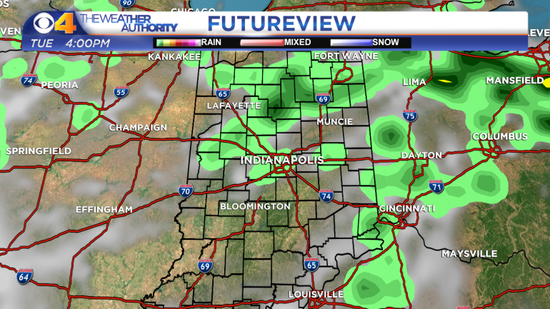 Computer model projection of radar/satellite imagery Tuesday afternoon.