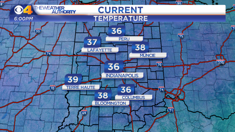 Temperatures at 6 p.m. Sunday.