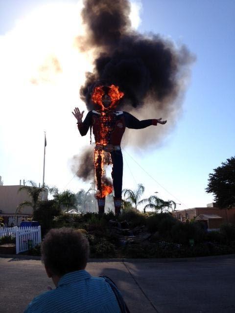 Big Tex on fire - Courtesy B. J. Bonnett