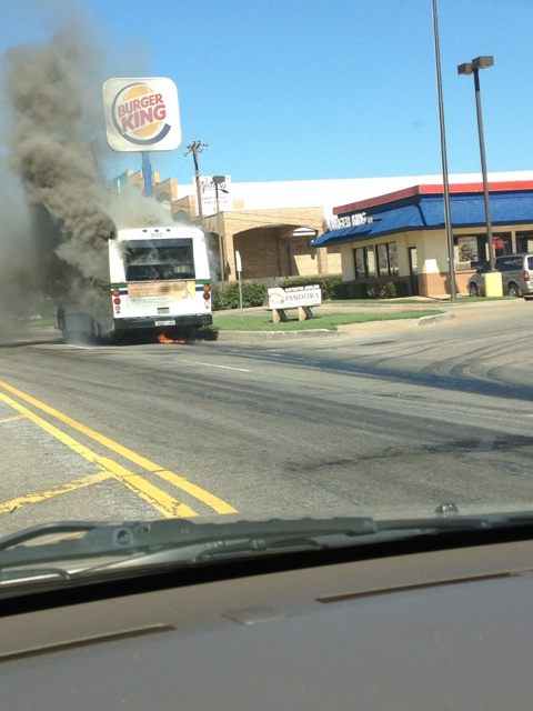 Bus fire - Courtesy: @missusbee2 & @curtgOK