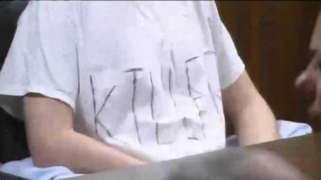 School shooting killer shirt close