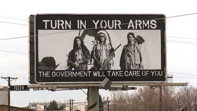 Colorado billboard gun rights Native Americans