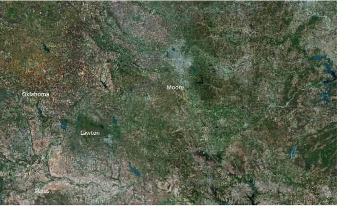 NASA satellite image before Moore tornado - Google Maps