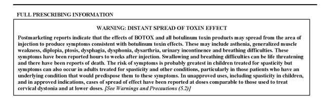 Botox Black Box Label