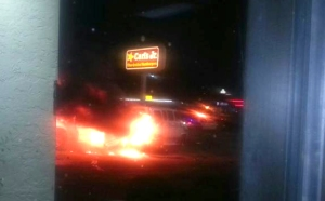 Photo from Jessica Graham whose car was hit in the police chase.