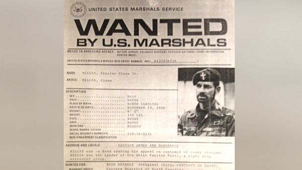 """A 1987 United States Marshals Service """"wanted"""" poster shows Frazier Glenn Miller. (United States Marshals Service via ABC News)"""