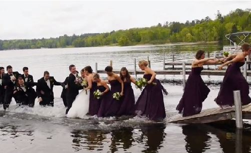 Wedding party in water
