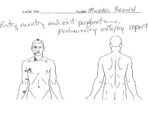 A copy of Michael Brown's autopsy diagram. Credit: Anthony Gray, Brown Family Attorney Source: CNN