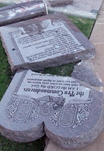 10 Commandment Monument rubble Photo Courtesy: John Estus